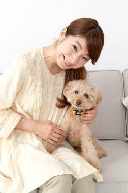 女性の飼い主と愛犬